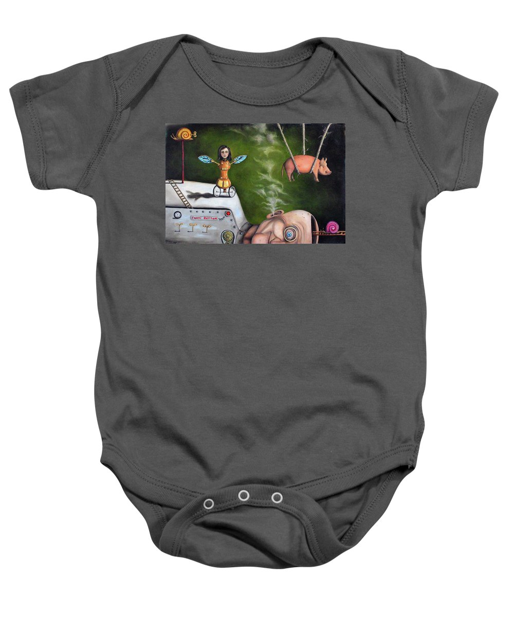 Pig Baby Onesie featuring the painting Weird Science-the Robot Factory by Leah Saulnier The Painting Maniac