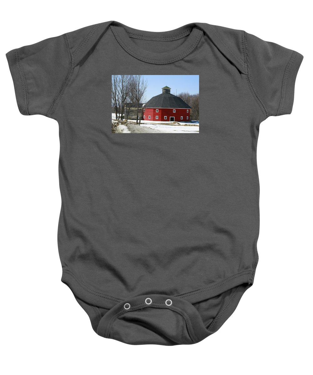 Barn Baby Onesie featuring the photograph Welch Round Barn by Deborah Benoit