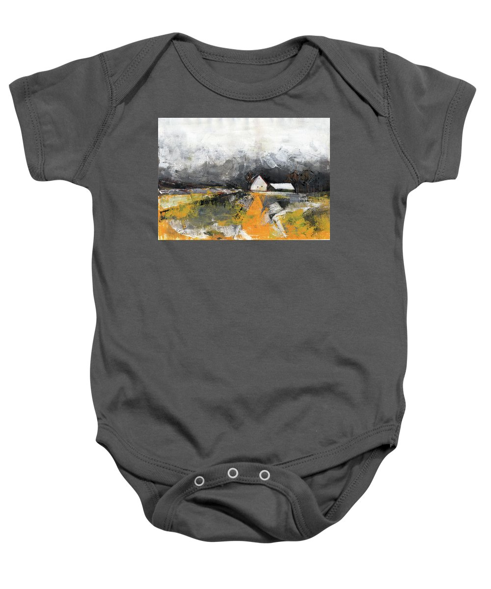 Landscape Baby Onesie featuring the painting Welcome Home by Aniko Hencz