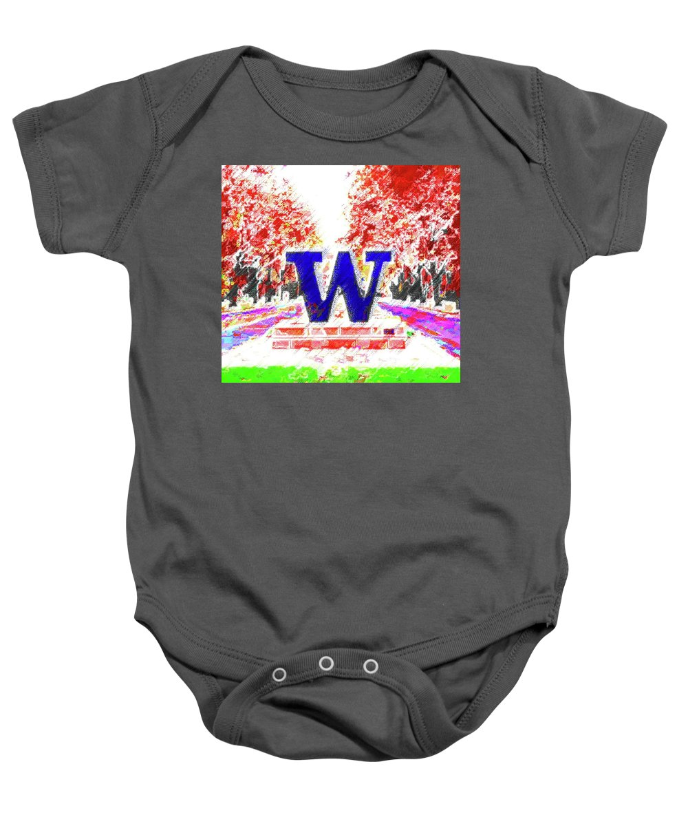 University Of Washington Baby Onesie featuring the mixed media Welcome To Washington by DJ Fessenden