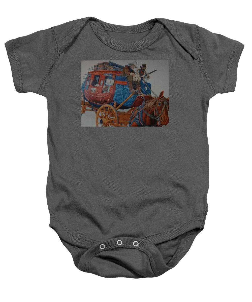 Mural Baby Onesie featuring the photograph Wells Fargo Stagecoach by Rob Hans