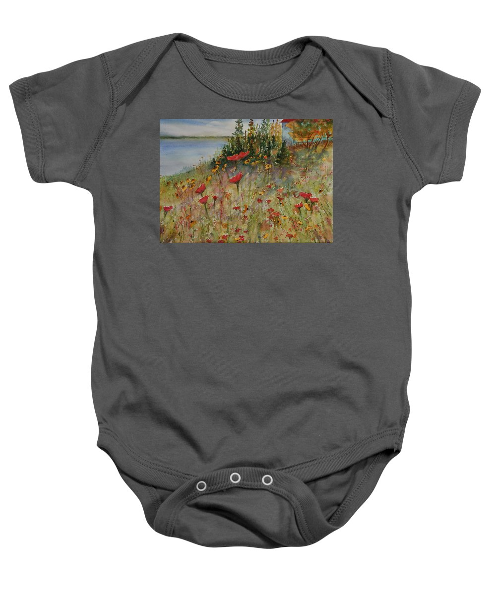 Nature Baby Onesie featuring the painting Wendy's Wildflowers by Ruth Kamenev