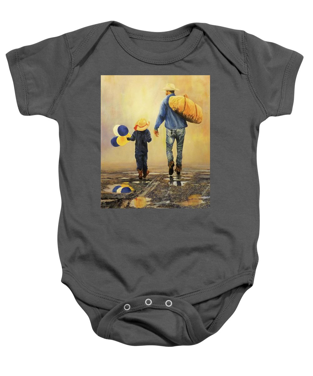 Western Baby Onesie featuring the painting Wet Day At The County Fair by Barry BLAKE