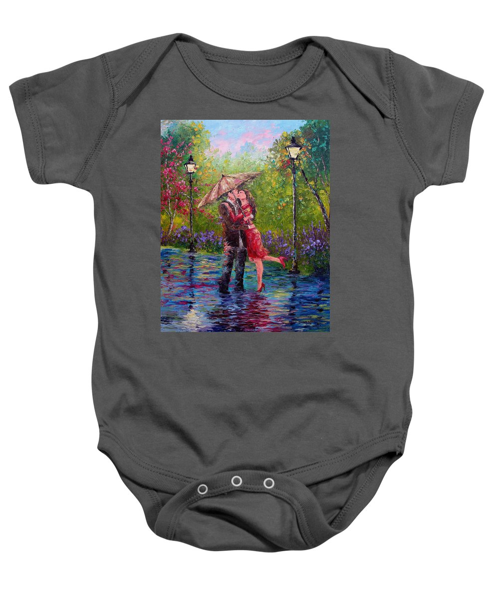 Kiss Baby Onesie featuring the painting Wet Kiss by David G Paul