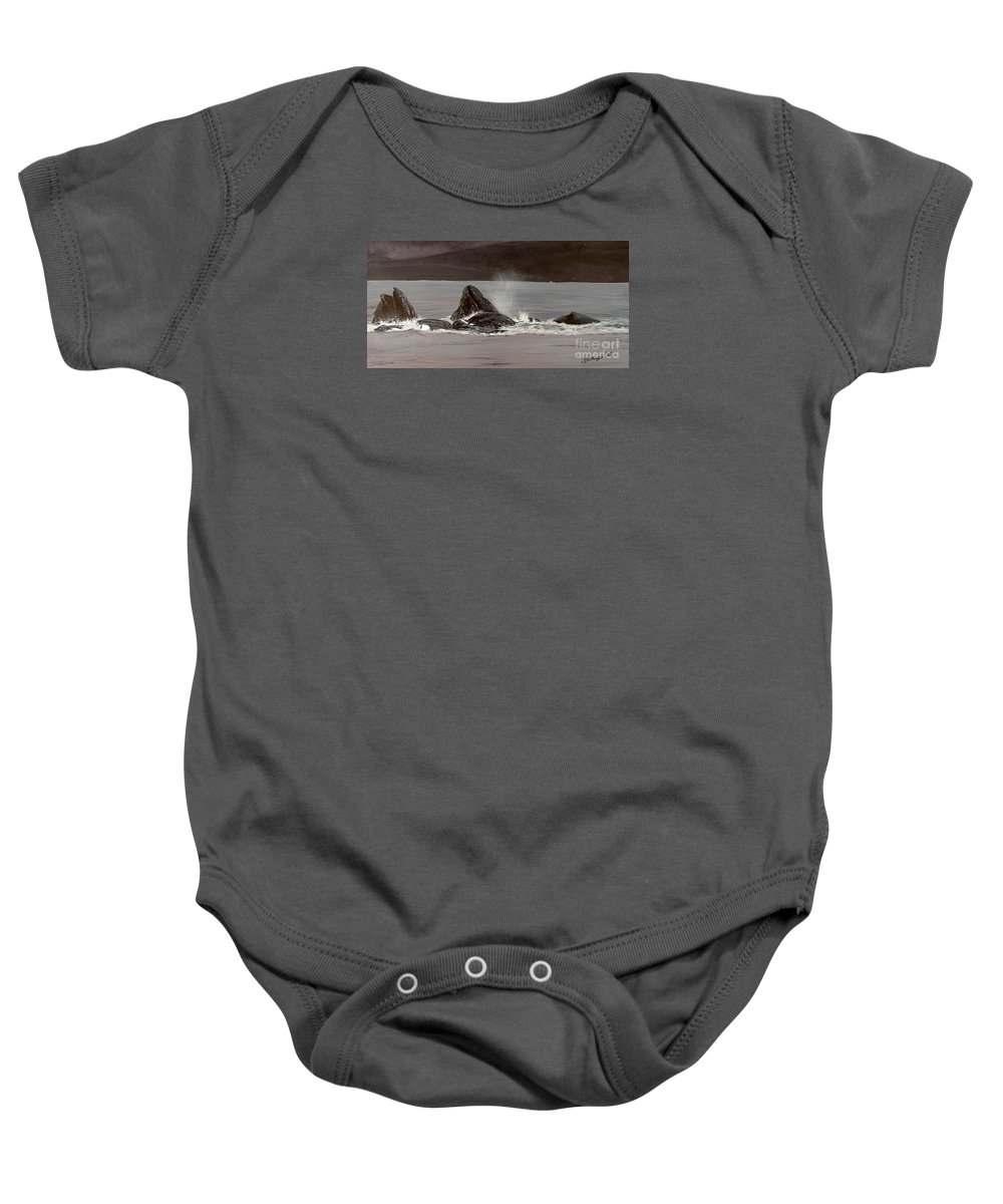 Whale Baby Onesie featuring the painting Whales Feeding by Shawn Stallings