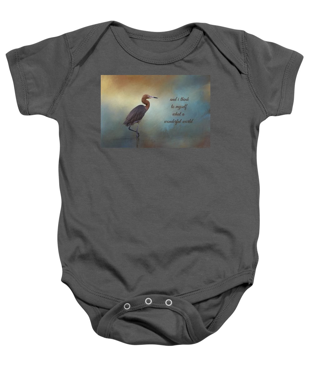 Reddish Egret Baby Onesie featuring the photograph What A Wonderful World by Kim Hojnacki