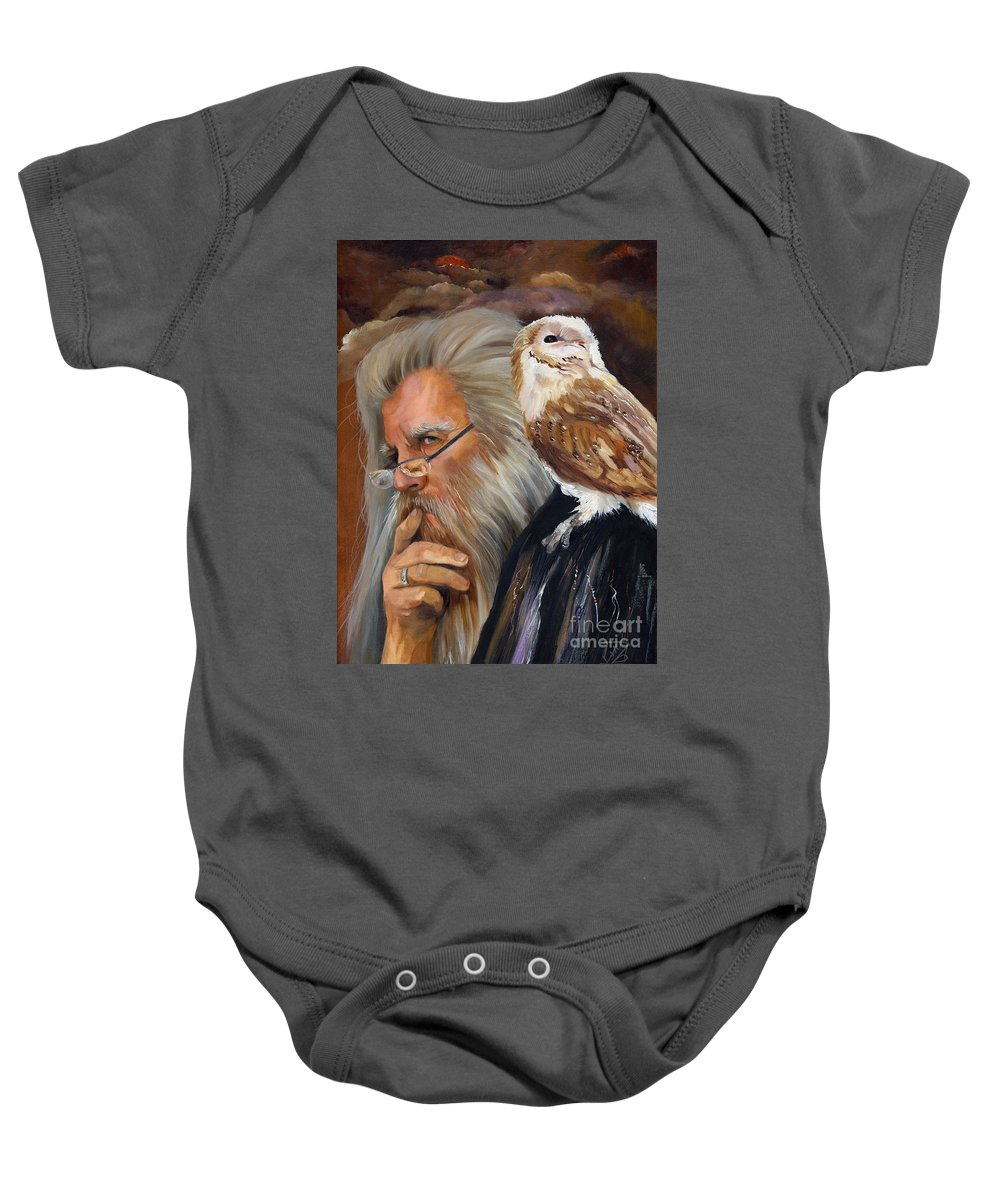 Wizard Baby Onesie featuring the painting What If... by J W Baker