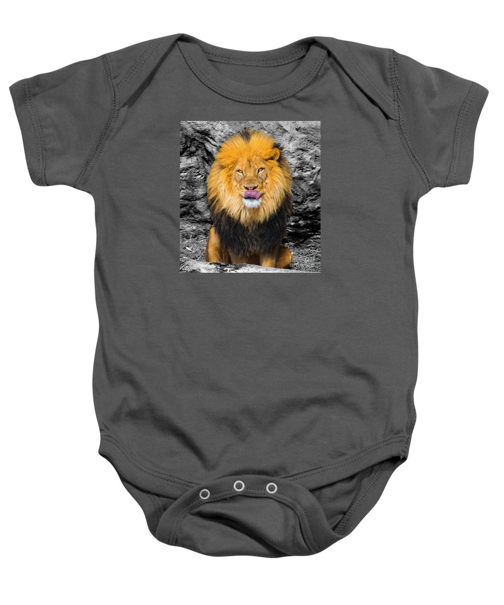 Big Cat Baby Onesie featuring the photograph What's For Breakfast? Soc by Robert Edgar