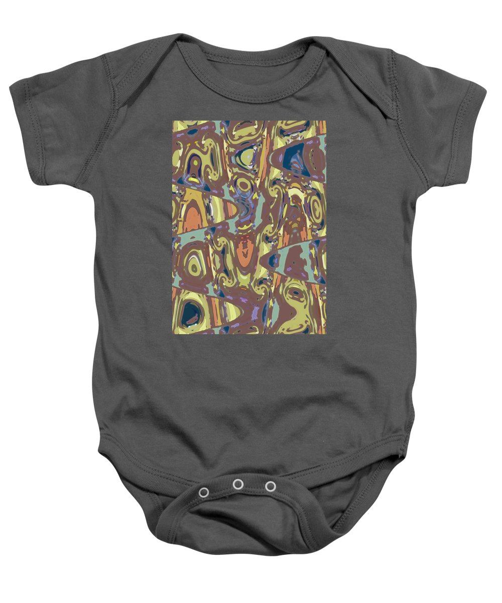 Abstract Baby Onesie featuring the digital art What's With The Gas Masks by Lenore Senior