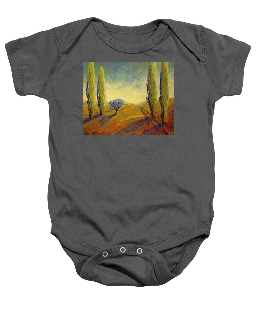 Contemporary Baby Onesie featuring the painting Where Evening Begins 2 by Konnie Kim
