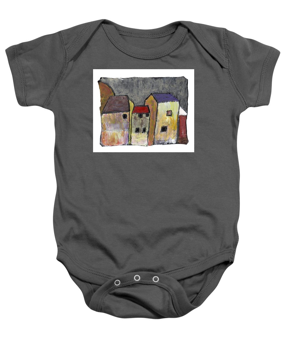 Buildings Baby Onesie featuring the painting Where Once There Was by Wayne Potrafka