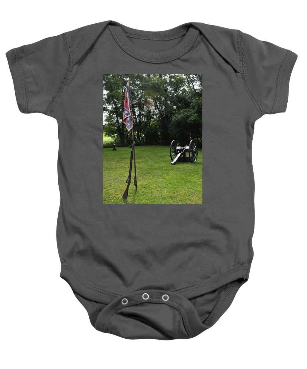 Confederate Army Baby Onesie featuring the photograph Where The Rebs Camp by David Arment