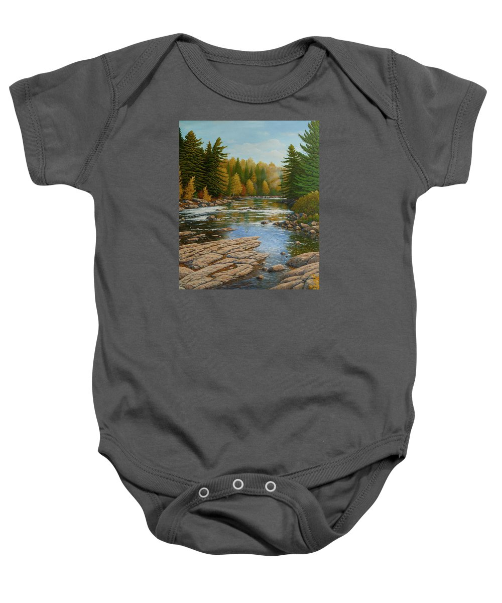 River Baby Onesie featuring the painting Where The River Flows by Jake Vandenbrink