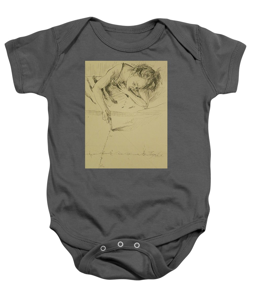 People Baby Onesie featuring the drawing Where The World Begins by Grigorita Martina