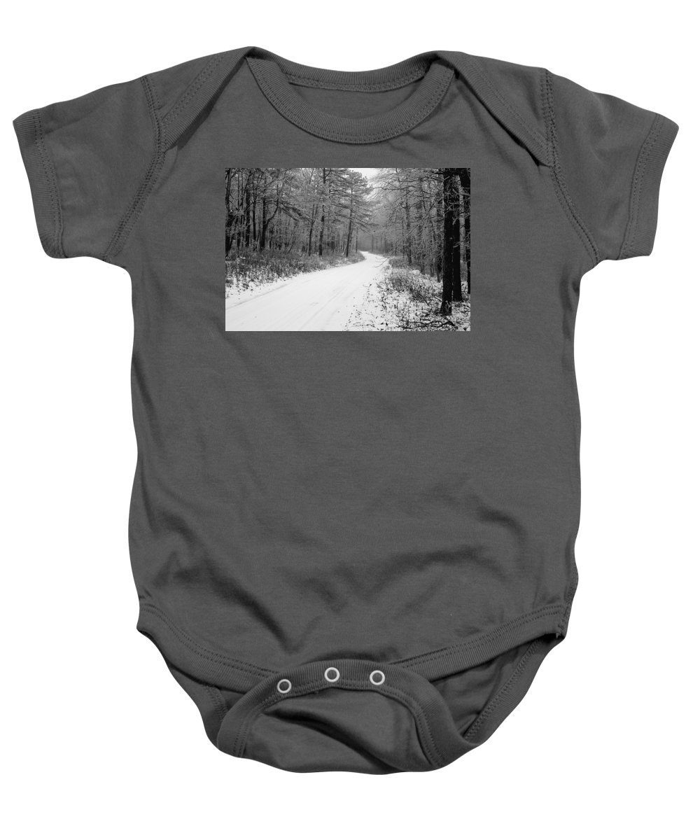 Winter Baby Onesie featuring the photograph Where Will It Lead by Jean Macaluso