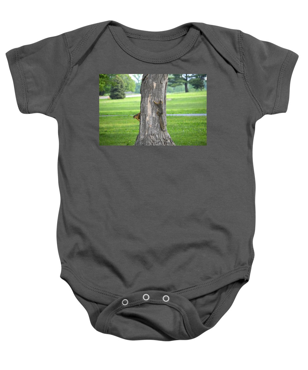 Squirrel Baby Onesie featuring the photograph Where'd He Go? by Belinda Stucki