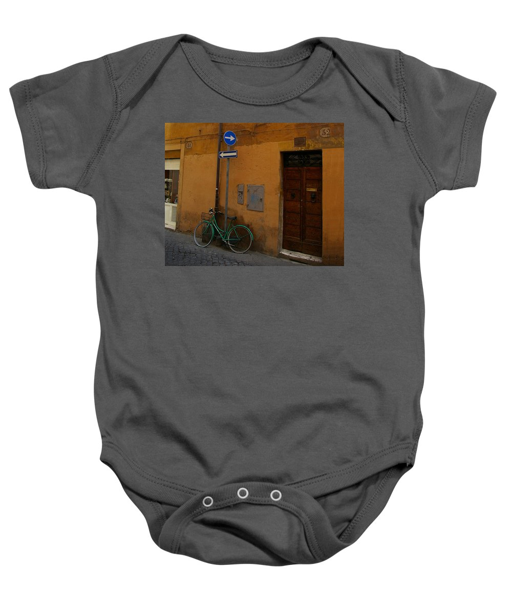 Bike. Bicycle Baby Onesie featuring the photograph Which Way To Go by Tom Reynen