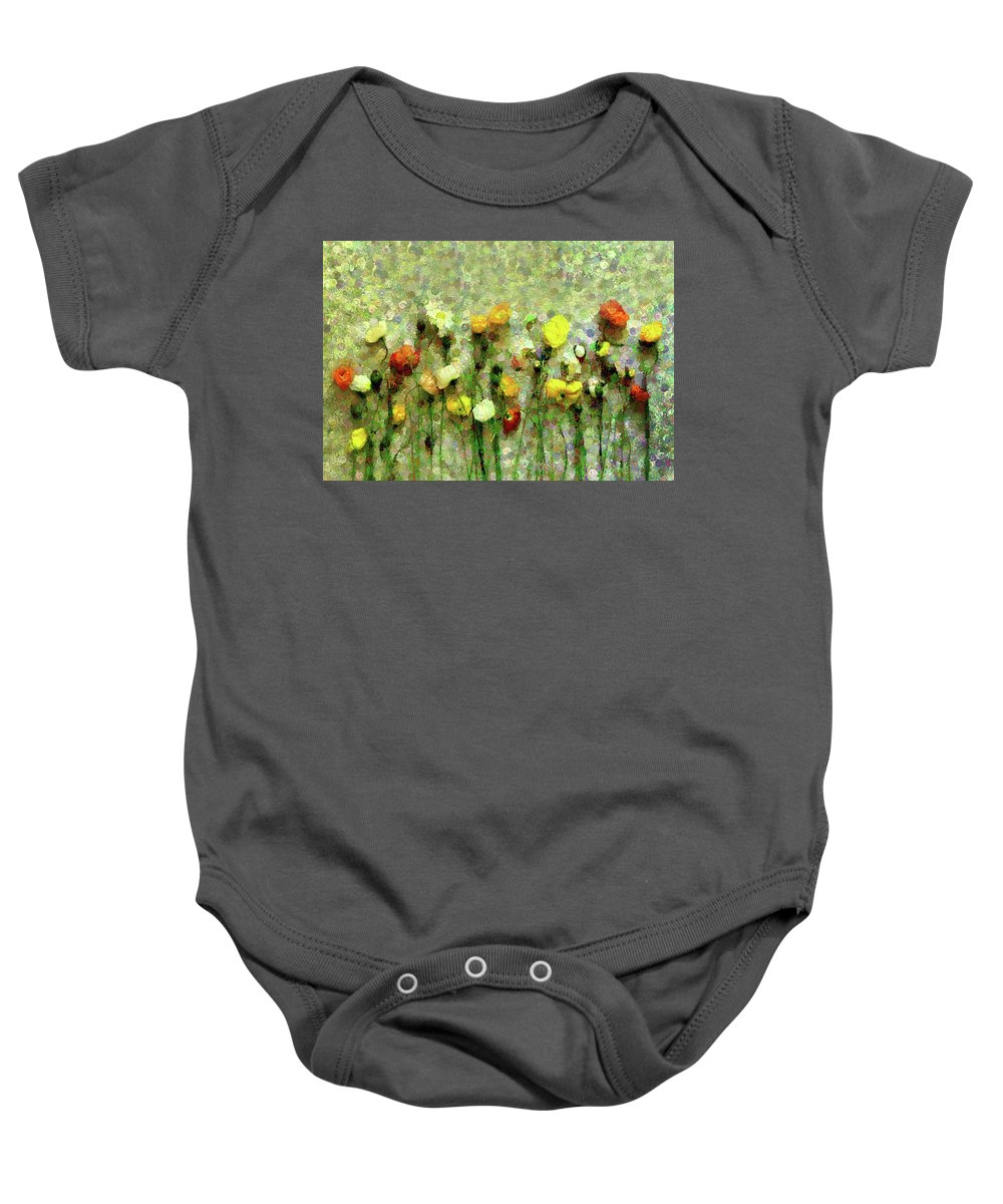 Whimsical Poppies On The Wall Baby Onesie featuring the mixed media Whimsical Poppies On The Wall by Georgiana Romanovna