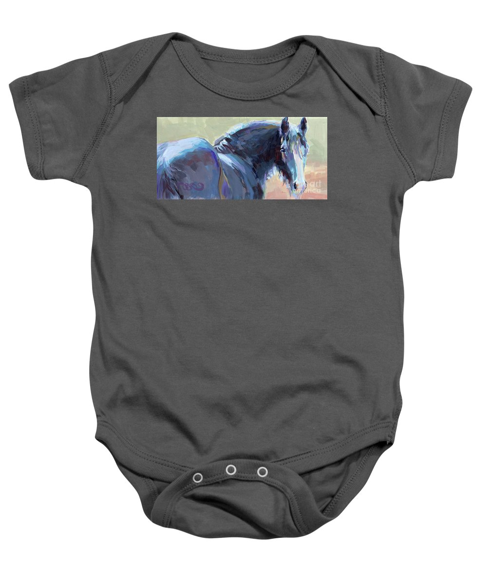 Clydesdale Baby Onesie featuring the painting Whiskery Clyde by Kimberly Santini