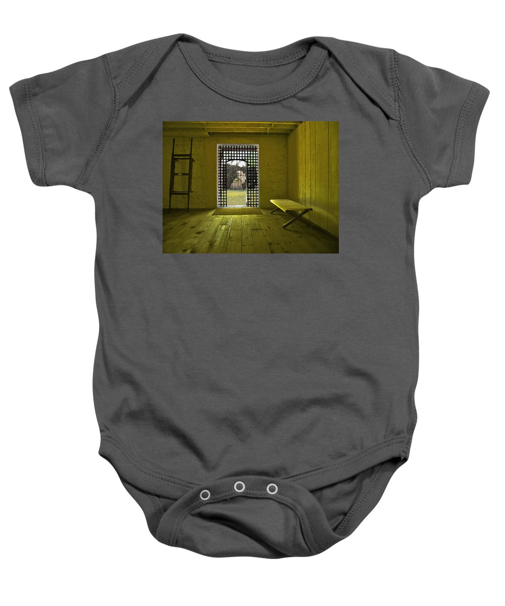 Jail Baby Onesie featuring the photograph Whiskeytown Jail by Karen W Meyer