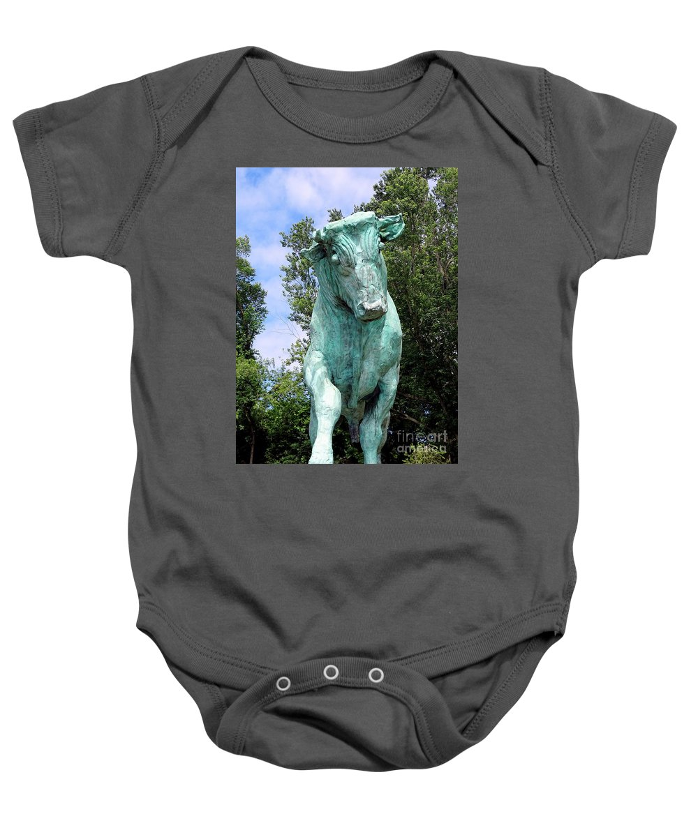 Statue Baby Onesie featuring the photograph Whisper The Bull by Ed Weidman