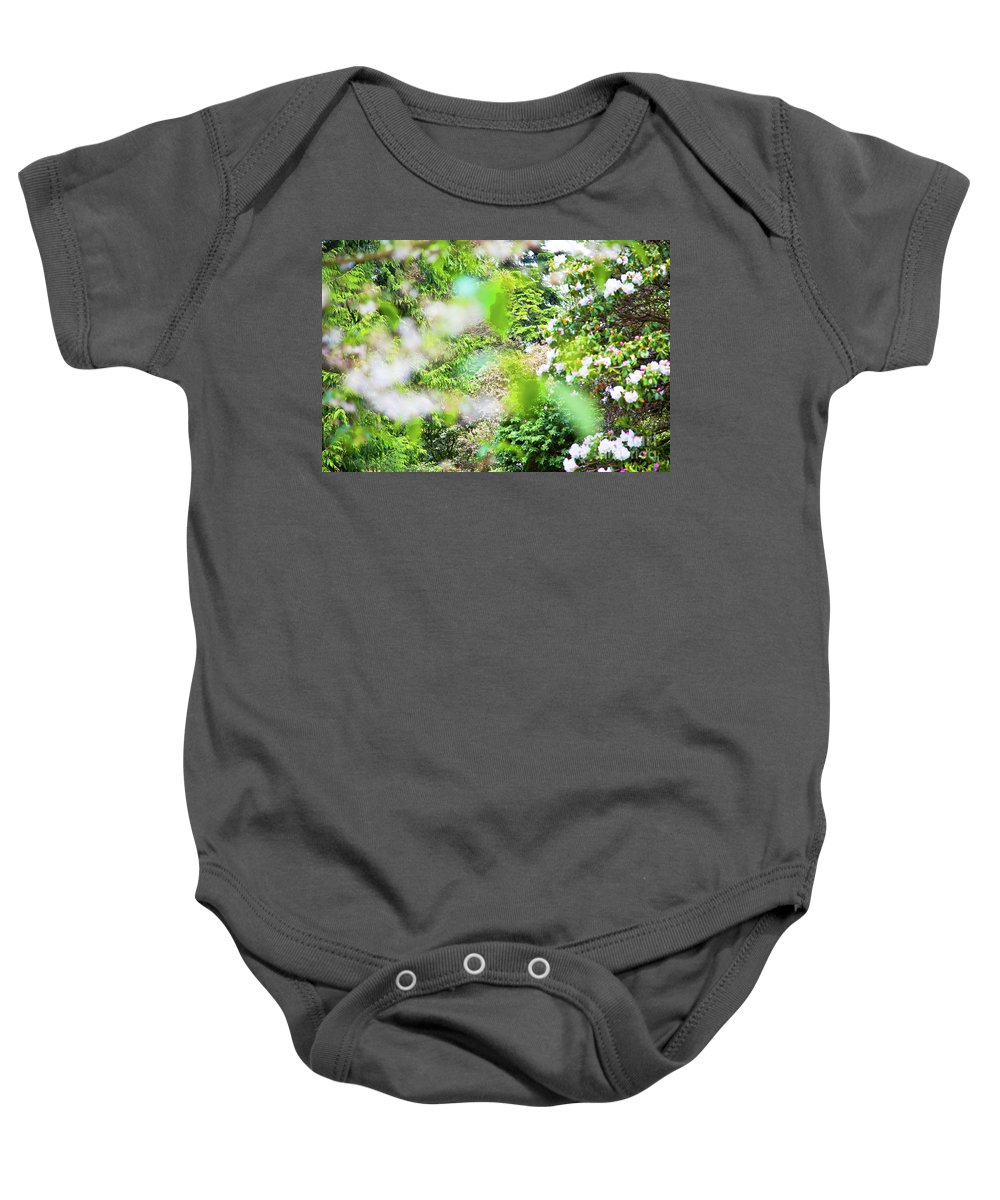 Flora Baby Onesie featuring the photograph White And Pink Spring by Alex Art and Photo