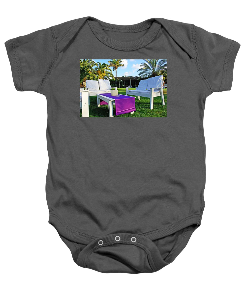 White Baby Onesie featuring the photograph White And Purple by Zal Latzkovich