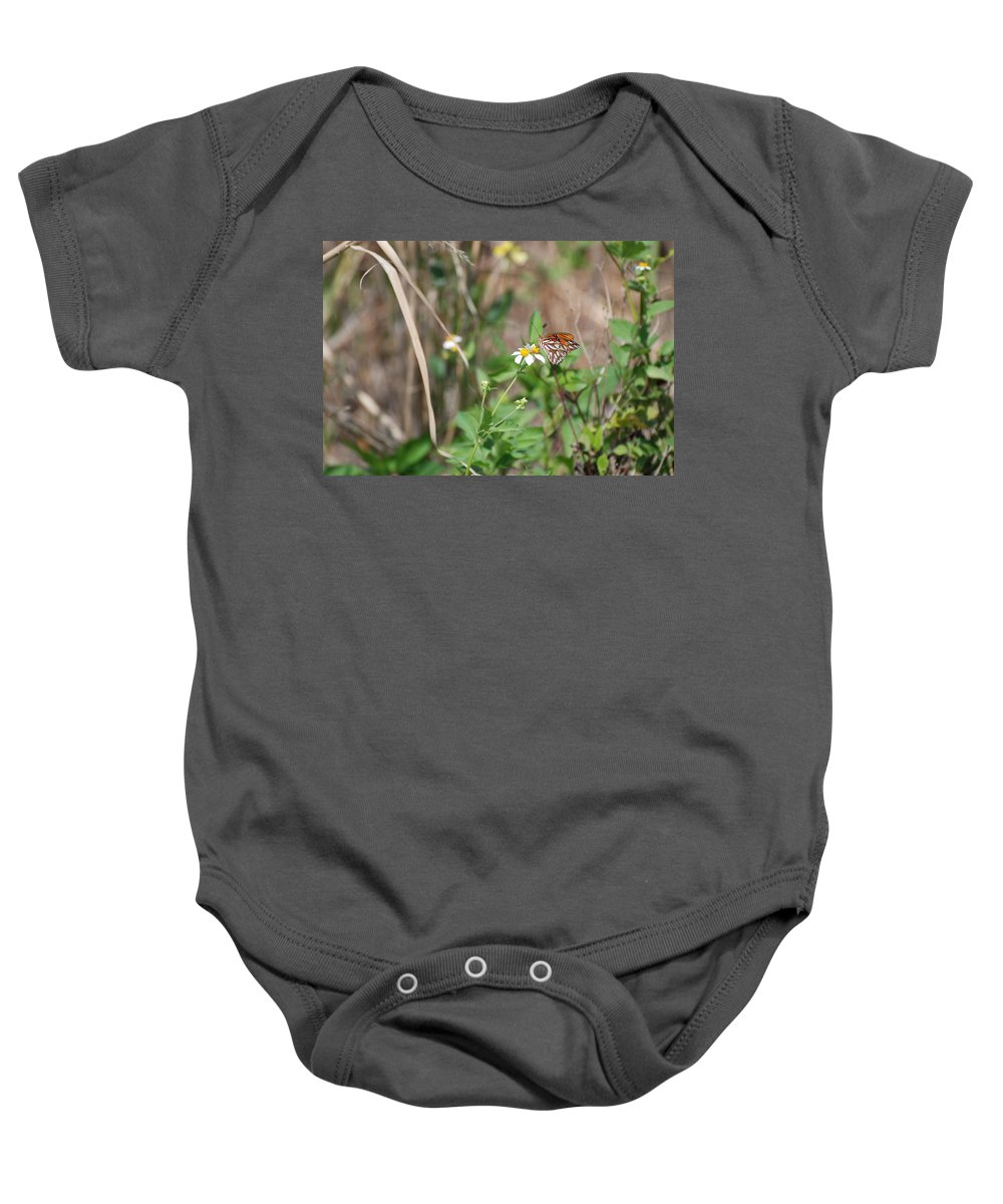 Butterfly Baby Onesie featuring the photograph White Butterfly by Rob Hans