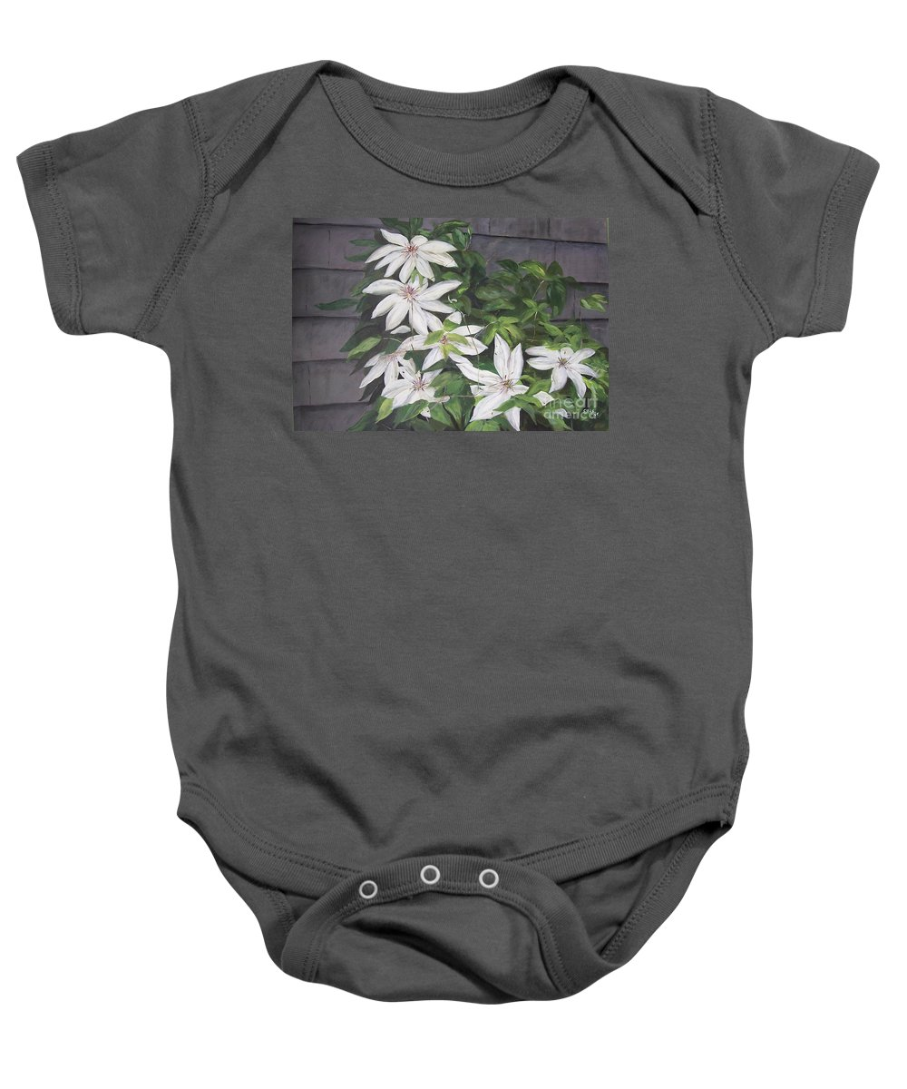 Floral Baby Onesie featuring the painting White Clematis by Elizabeth Ellis