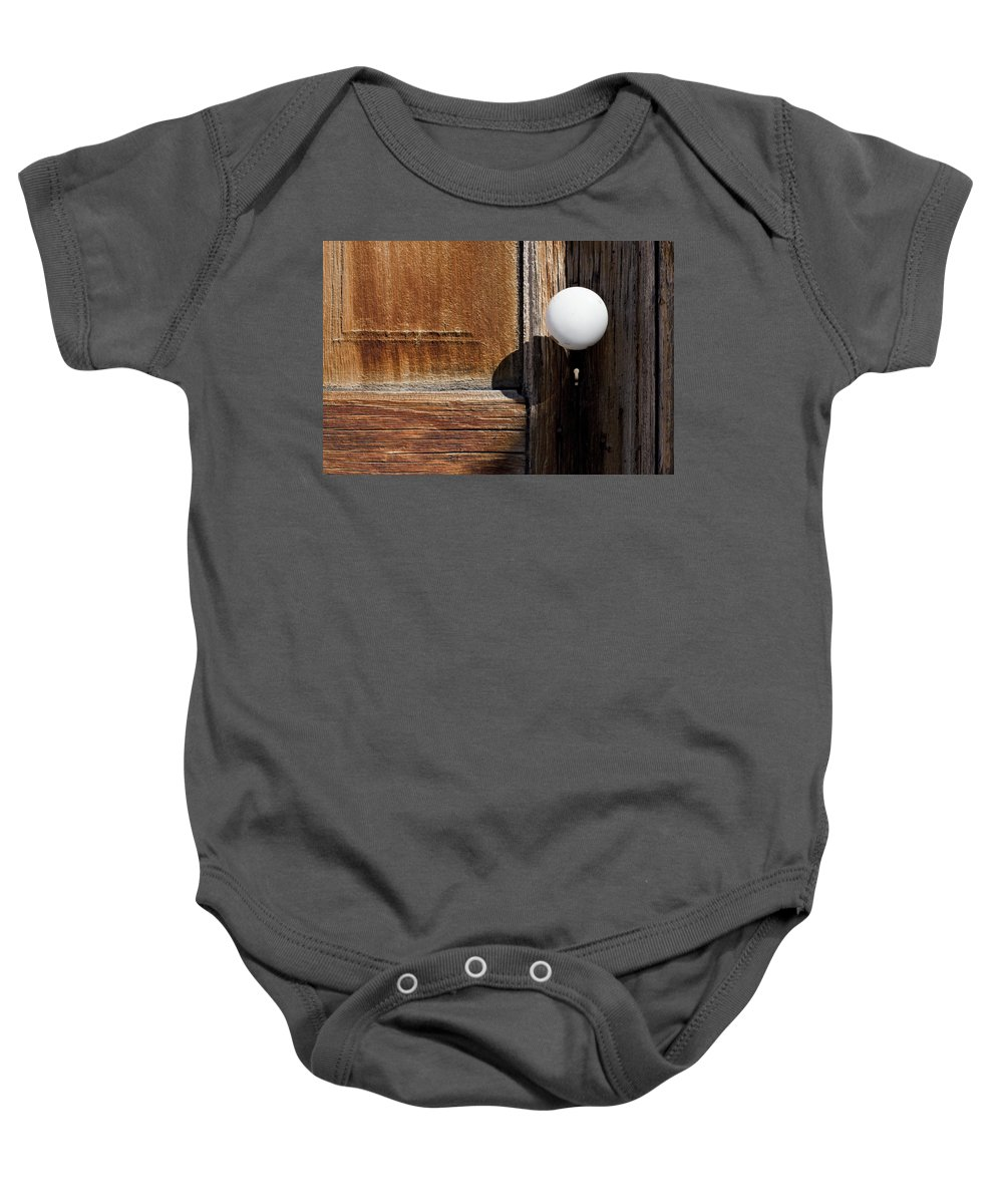 White Door Knob Baby Onesie featuring the photograph White Knob by Kelley King