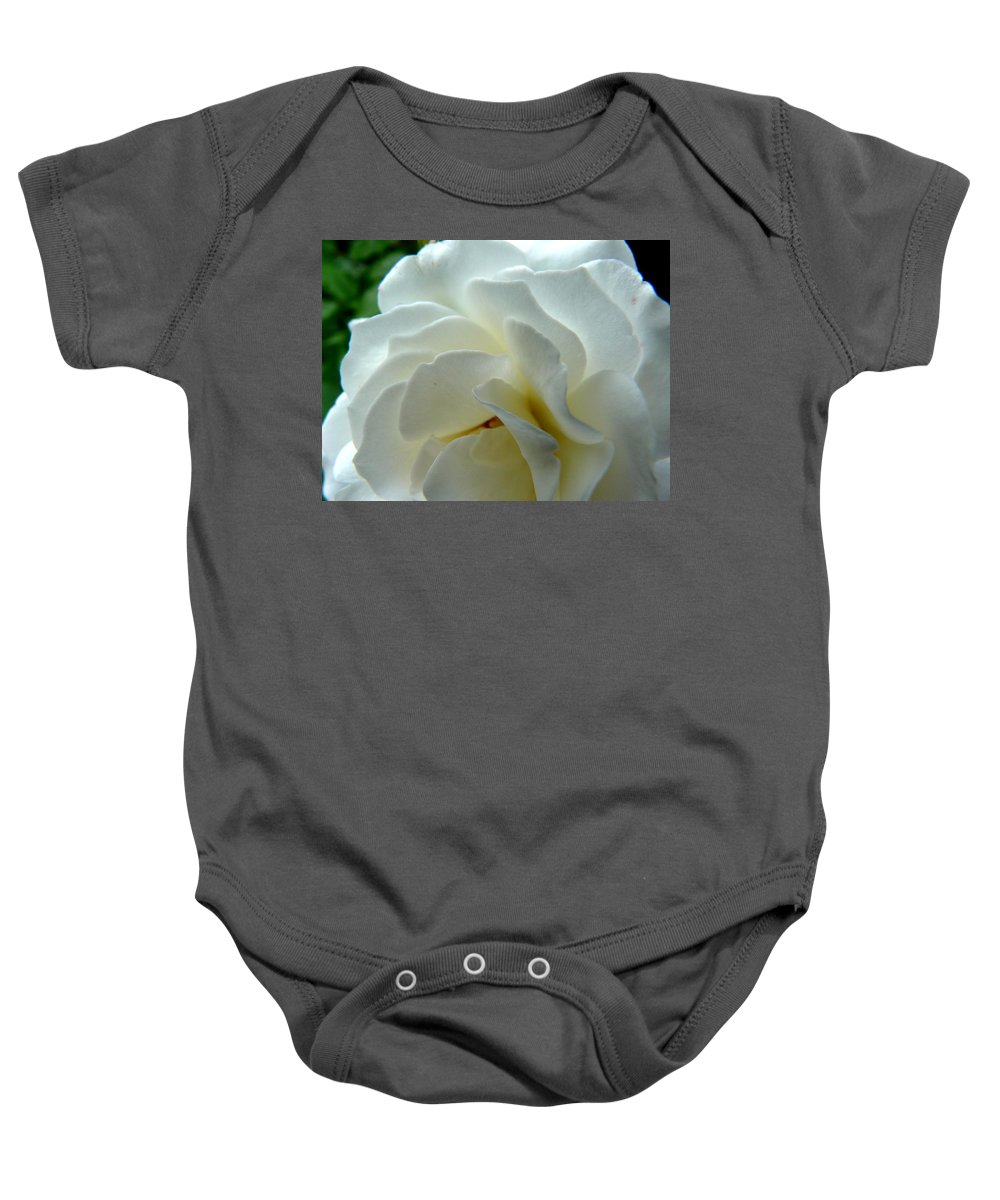 Rose Baby Onesie featuring the photograph White Petals by Valerie Ornstein