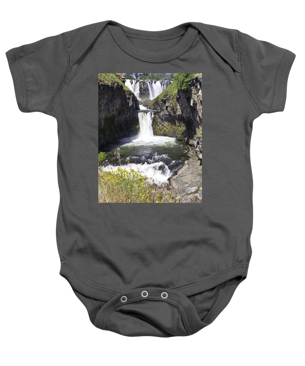 White River Baby Onesie featuring the photograph White River Falls by Paul Riedinger