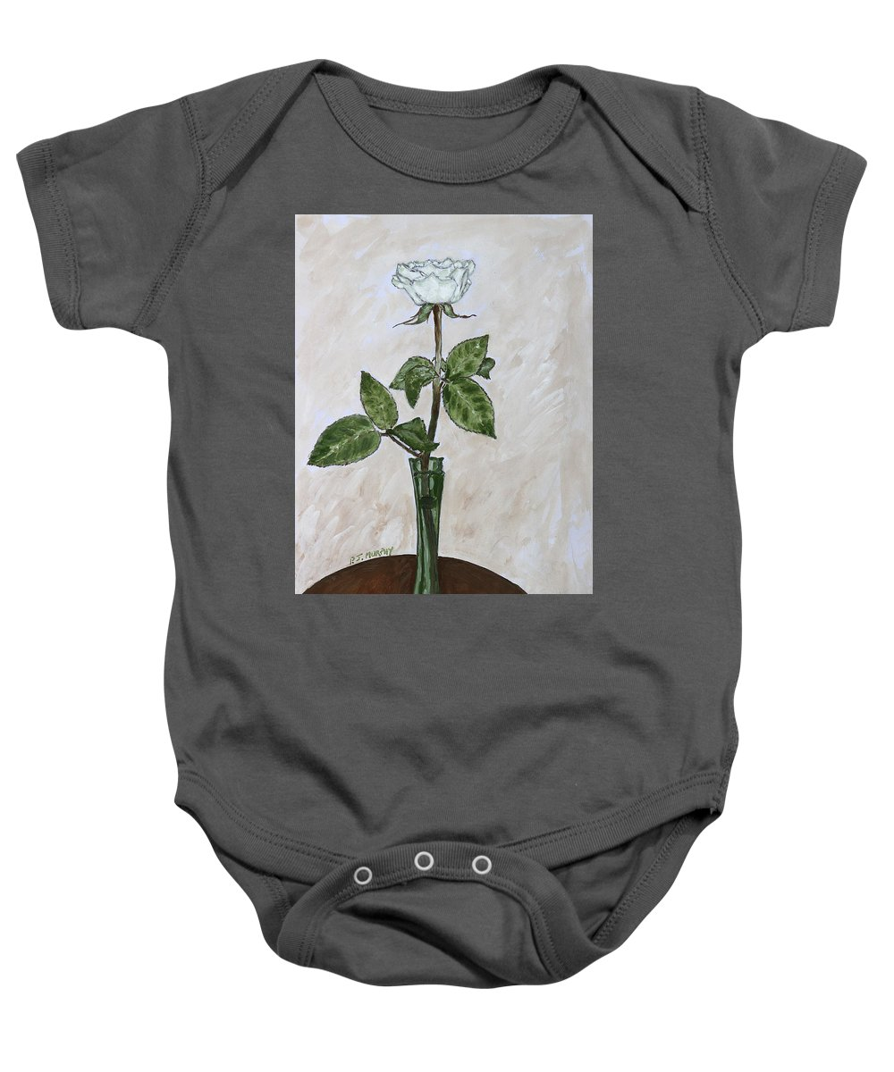 Floral Baby Onesie featuring the painting White Rose by Patrick J Murphy