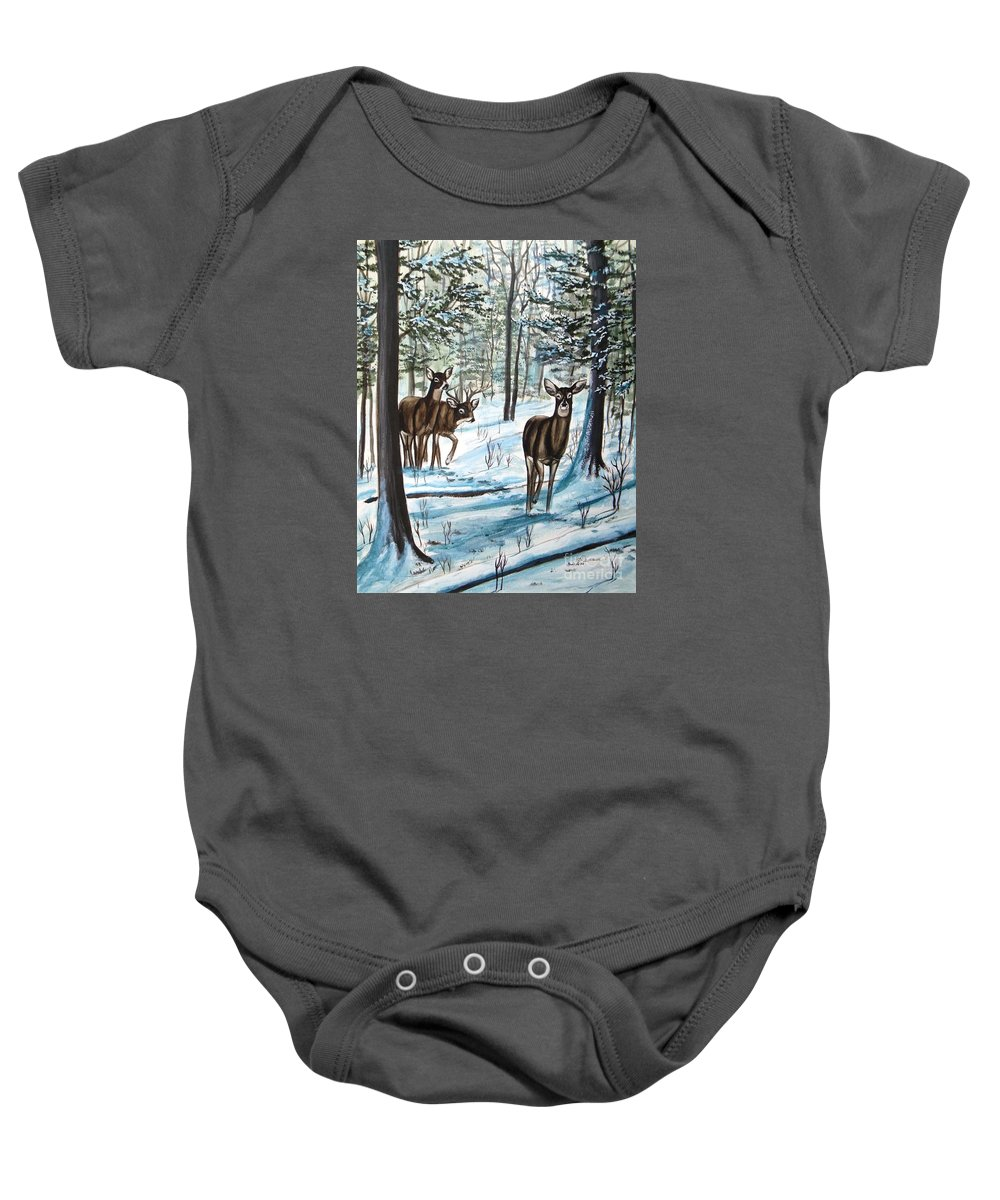 Deer Baby Onesie featuring the painting White Tail Deer In Winter by Patricia L Davidson