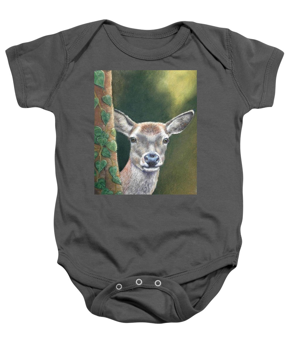 Rainforest Baby Onesie featuring the painting White tail doe at Ancon Hill by Melanie Alvarado