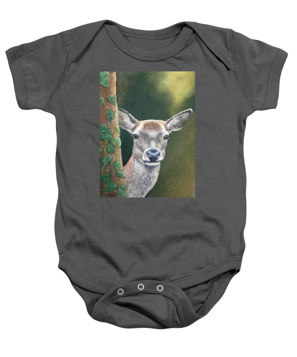 Rainforest Baby Onesie featuring the painting White Tail Doe At Ancon Hill by Ceci Watson