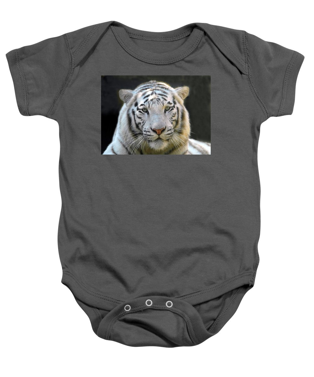 White Tiger Baby Onesie featuring the photograph White Tiger by David Lee Thompson