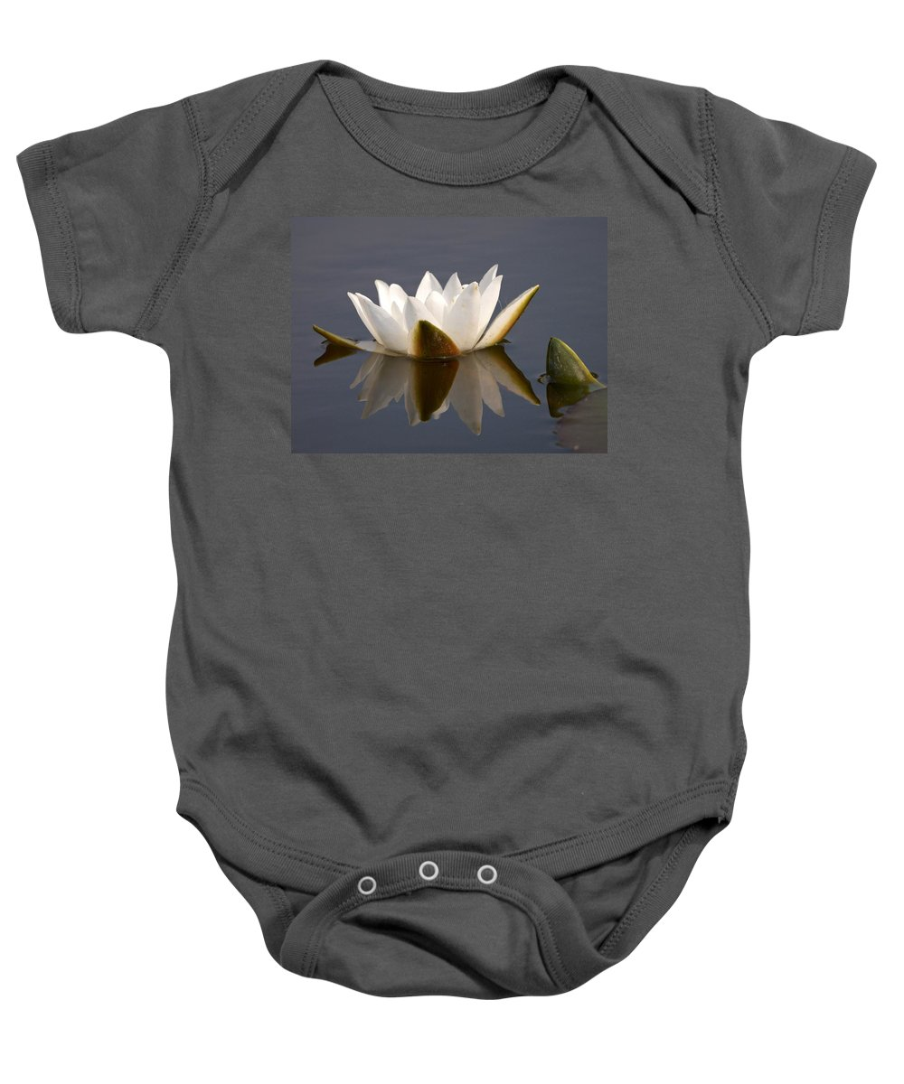 Lehtokukka Baby Onesie featuring the photograph White Waterlily 2 by Jouko Lehto