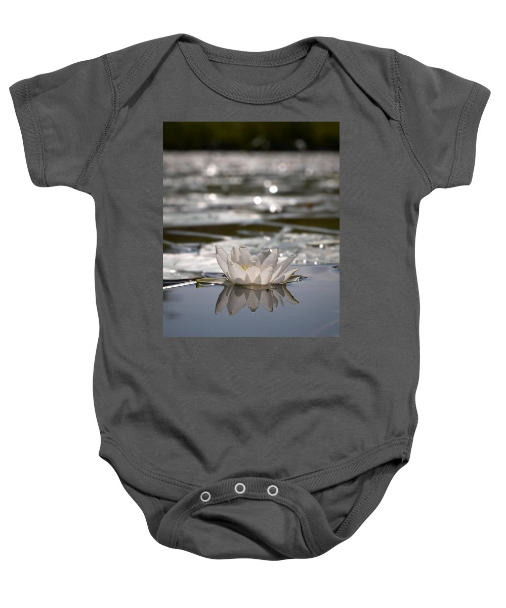 Lehtokukka Baby Onesie featuring the photograph White Waterlily 3 by Jouko Lehto