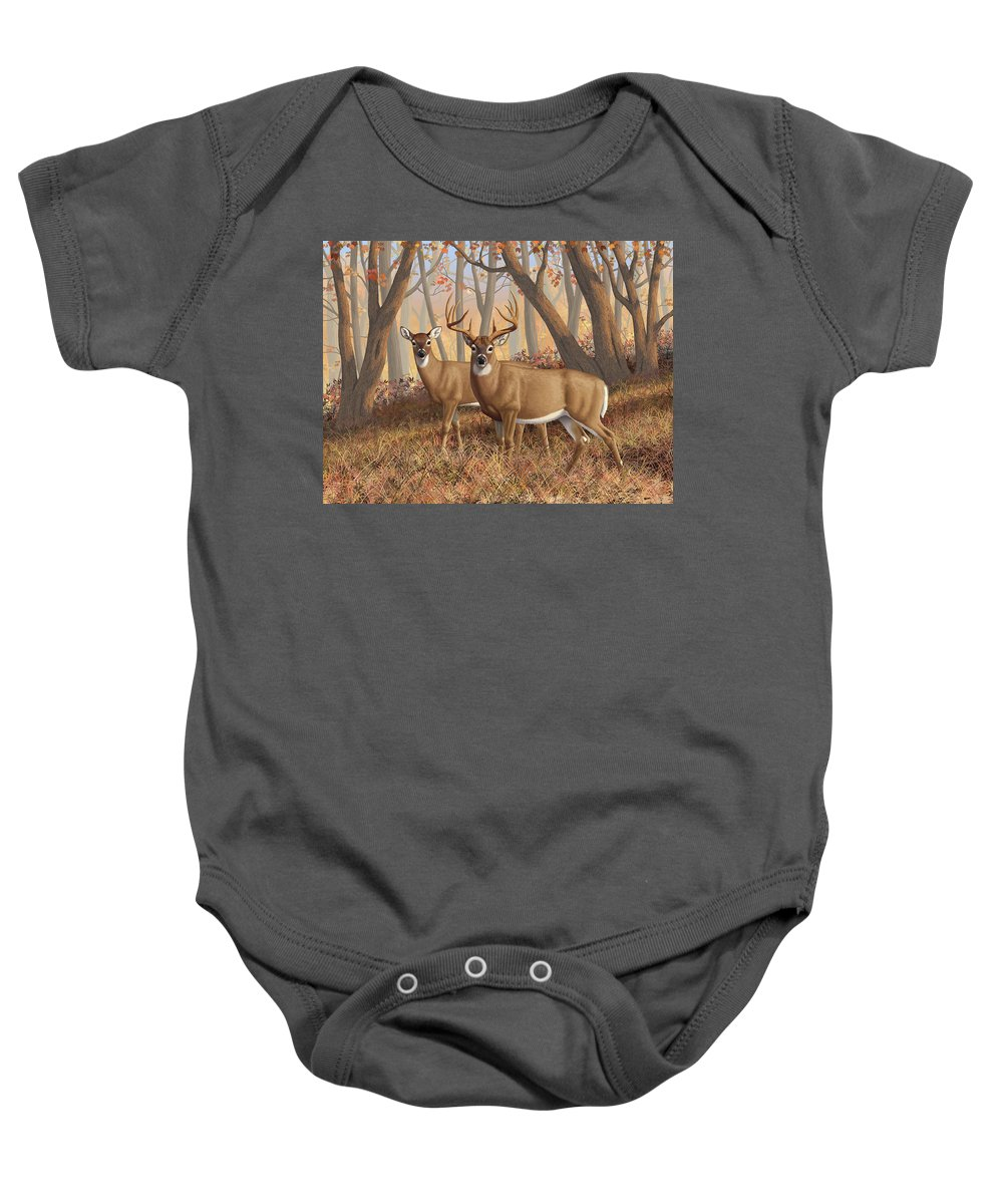 Deers Baby Onesie featuring the painting Whitetail Deer Painting - Fall Flame by Crista Forest