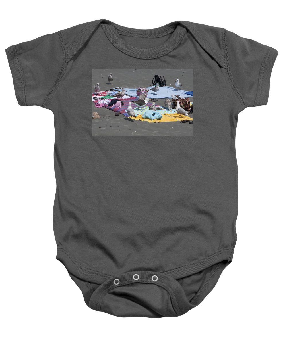 Seagull Baby Onesie featuring the photograph Who Brought The Beer by Steven Natanson