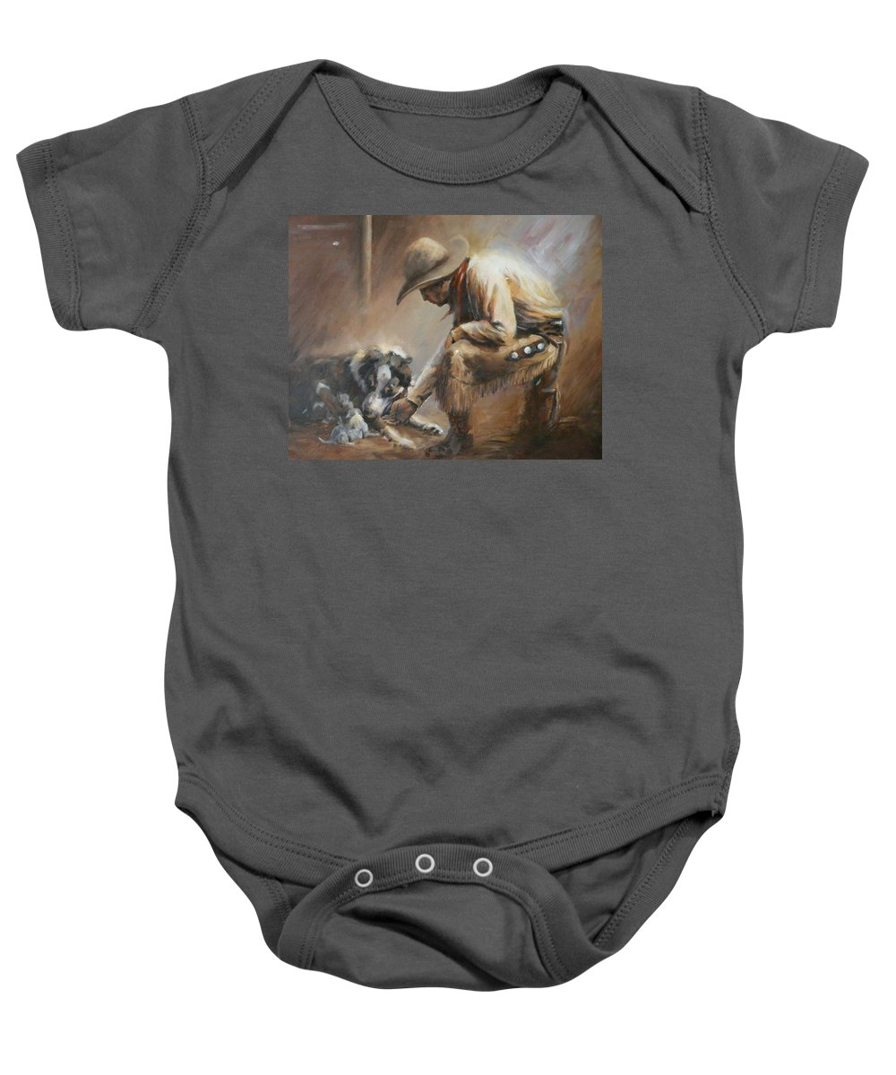 Cowboys Baby Onesie featuring the painting Who's Your Daddy by Mia DeLode