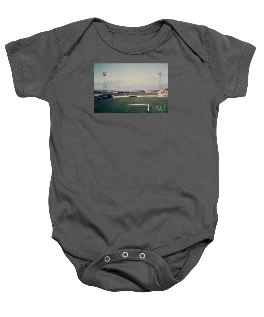 Baby Onesie featuring the photograph Wigan Athletic - Springfield Park - The Grassy Bank 1 - 1969 by Legendary Football Grounds
