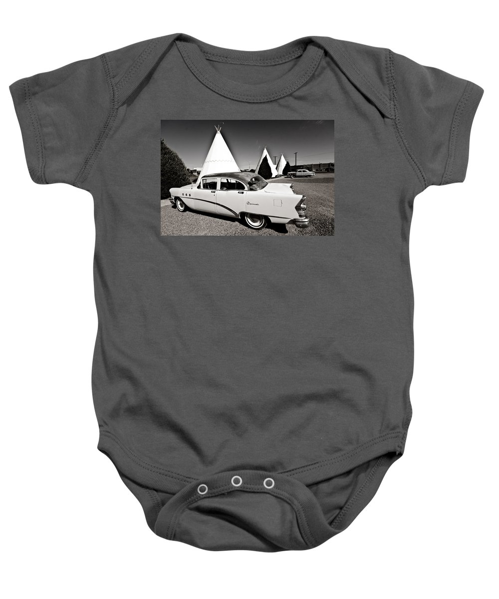 66 Baby Onesie featuring the photograph Wigwam Motel Classic Car #2 by Robert J Caputo