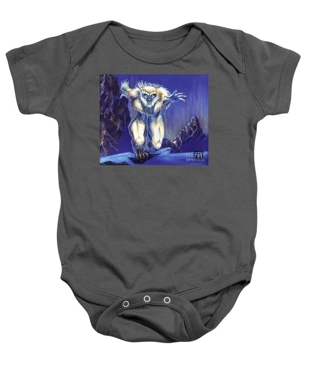 Ice Age Baby Onesie featuring the painting Wiitigo by Melissa A Benson