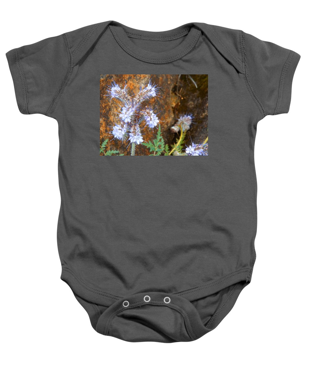 Flower  Weed  Purple  Baby Onesie featuring the photograph Wild And Free by Elton Eveningred