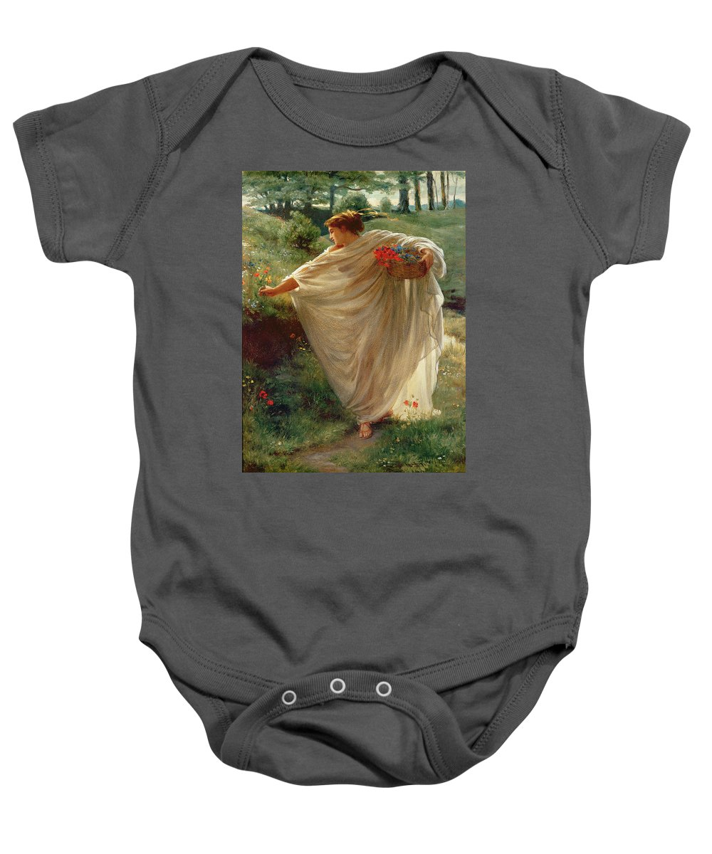 Wild Baby Onesie featuring the painting Wild Blossoms by Sir Edward John Poynter