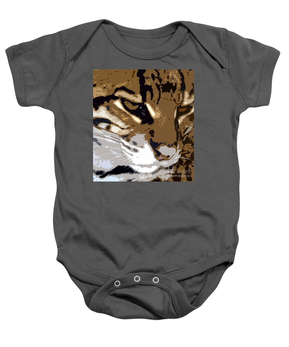 Wild Baby Onesie featuring the painting Wild Cat by David Lee Thompson