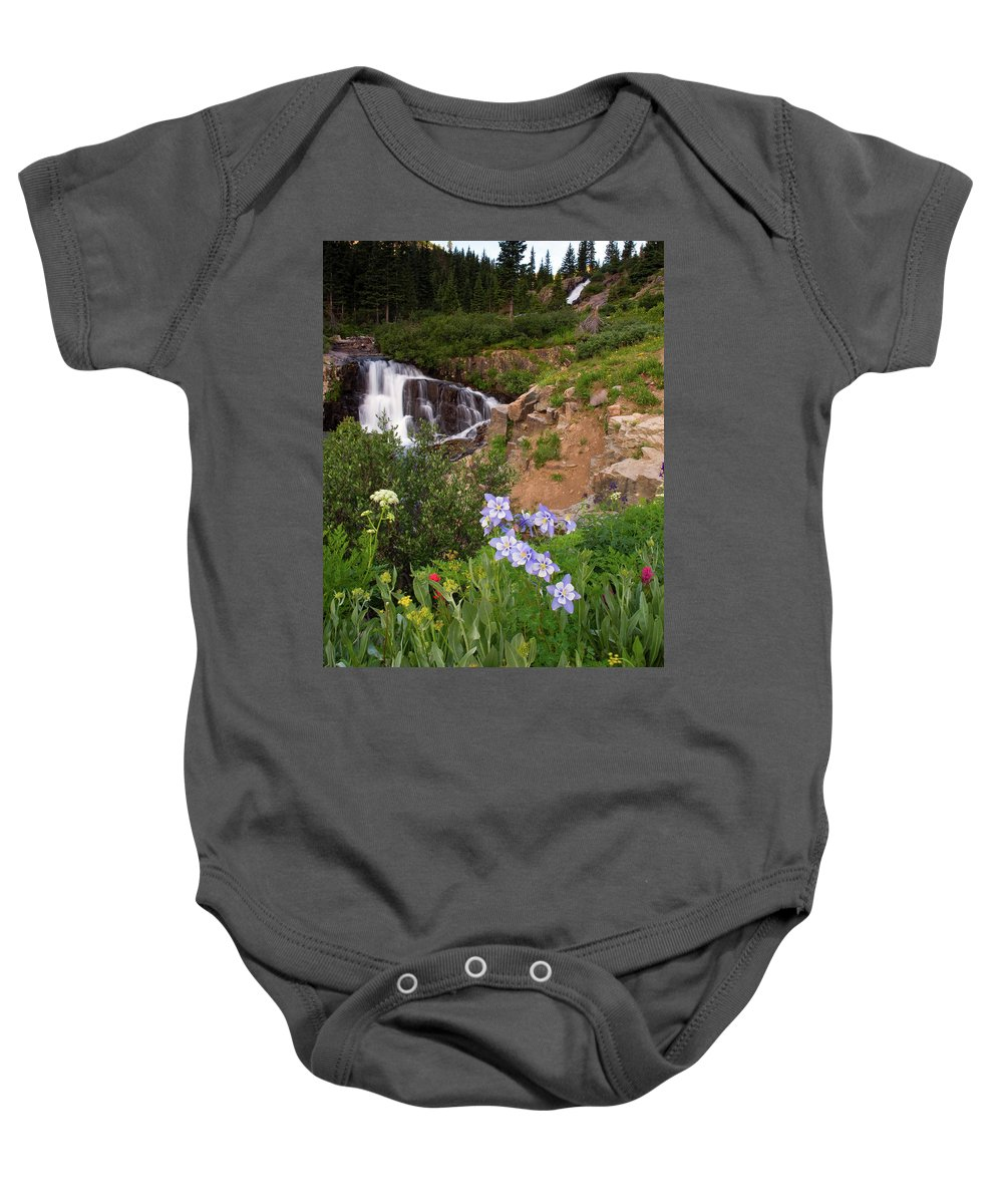 Colorado Baby Onesie featuring the photograph Wild Flowers And Waterfalls by Steve Stuller