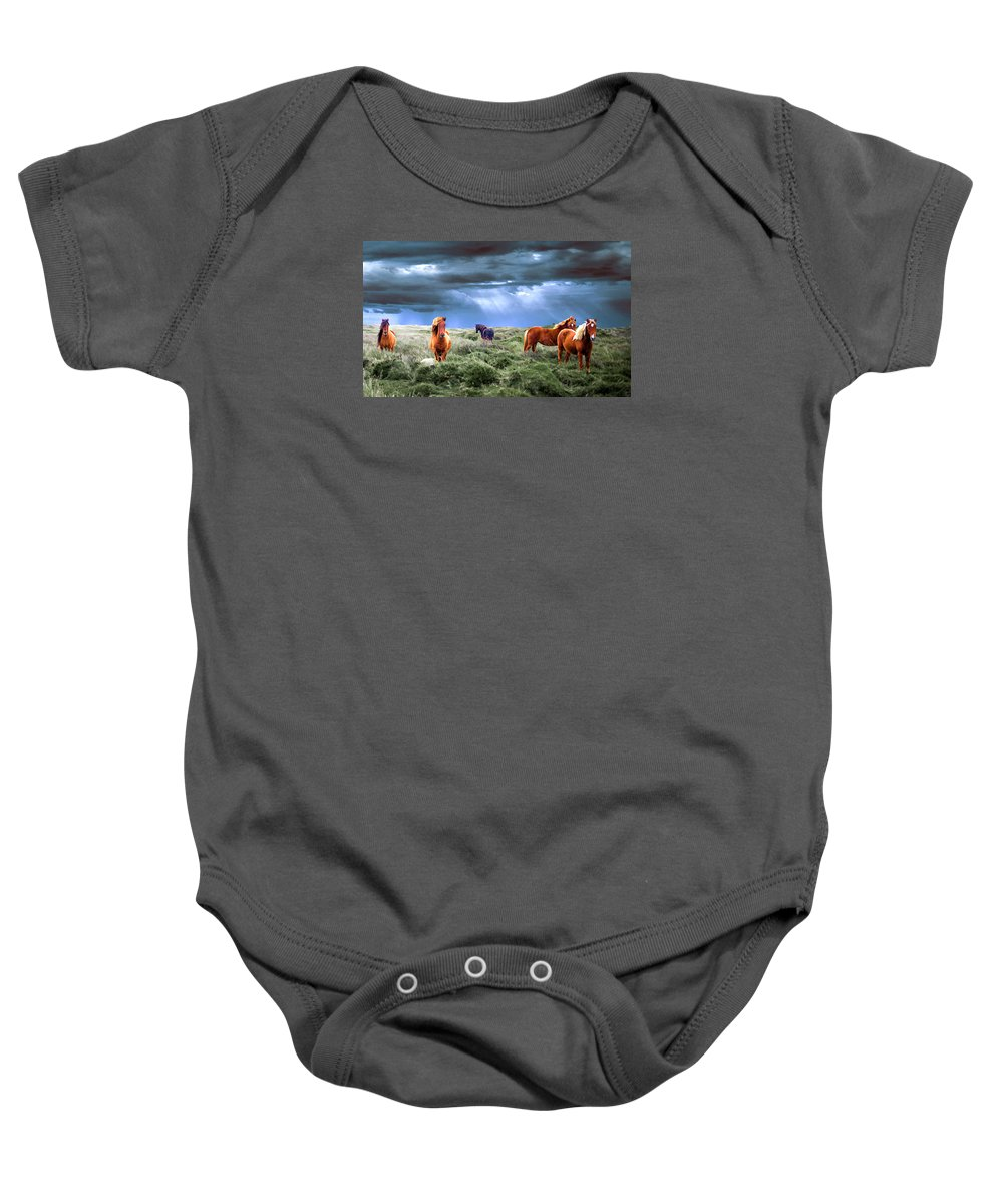 83d7fa148ec3 Wild Horses Dark And Stormy Sky Onesie for Sale by Elaine Plesser